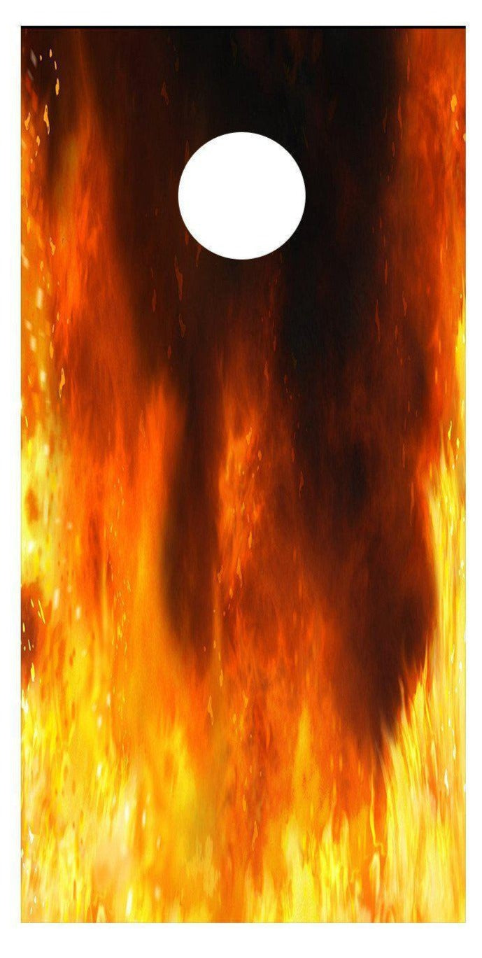 Flaming Fire Cornhole Board Decal Set - 2 Decals Bean Bag Toss - Let's Print Big