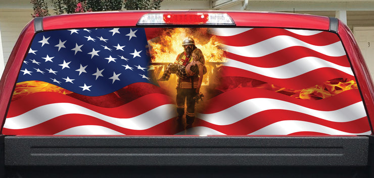 Fireman Decal American Flag Flame Rear Window