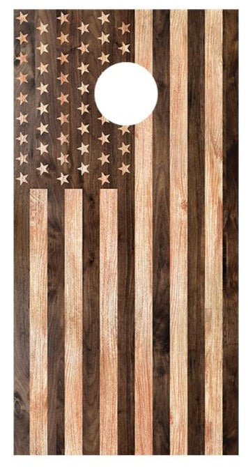 Flipped Wooden American Flag Cornhole Board Decals Bean Bag Toss