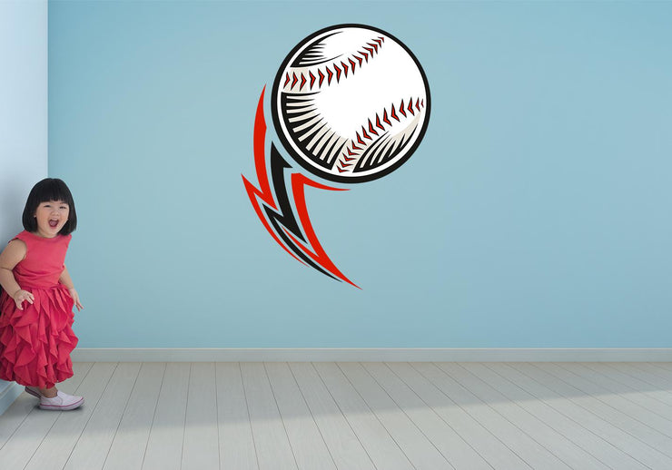 Flying Baseball Wall Art Decal - Let's Print Big