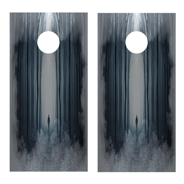 Figure in the Fog Trees Cornhole Board Decal Set - 2 Decals - Let's Print Big