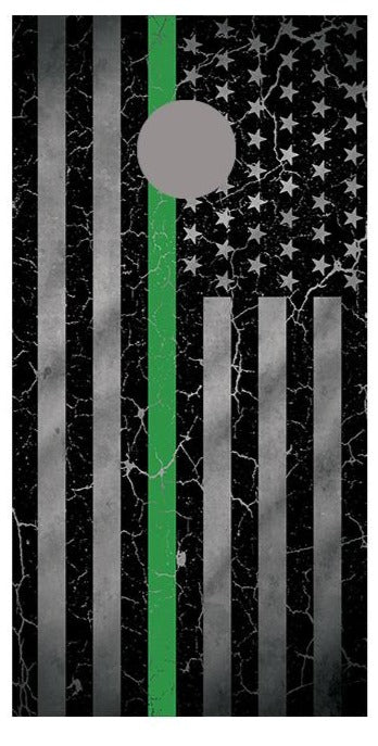 Green Line Crackle American Flag Cornhole Board Decal Wraps