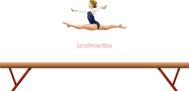 Wall Art Gymnastics Balance Beam Wall Decals Removable Repositionable Fathead style - Let's Print Big