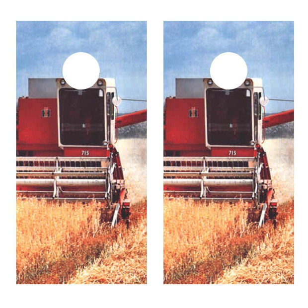 IH Combine Wheat 715 Cornhole Board Decal Set -  2 Decals Bean Bag Toss - Let's Print Big
