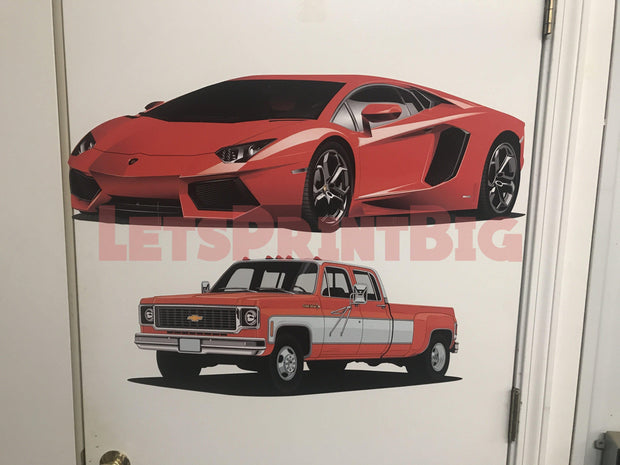 Car Art Lamborghini 4 Color Choices Wall Decal Removable Re-positionable