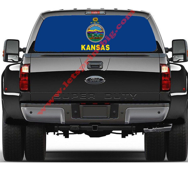 Kansas State Flag-Rear Window Decal-Graphic - Let's Print Big