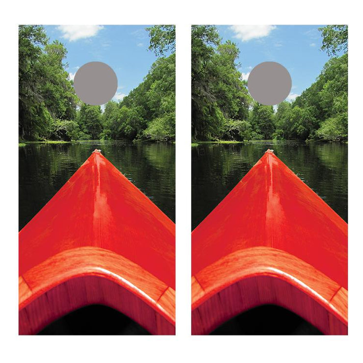 Kayak End Red Cornhole Board Decal Wraps