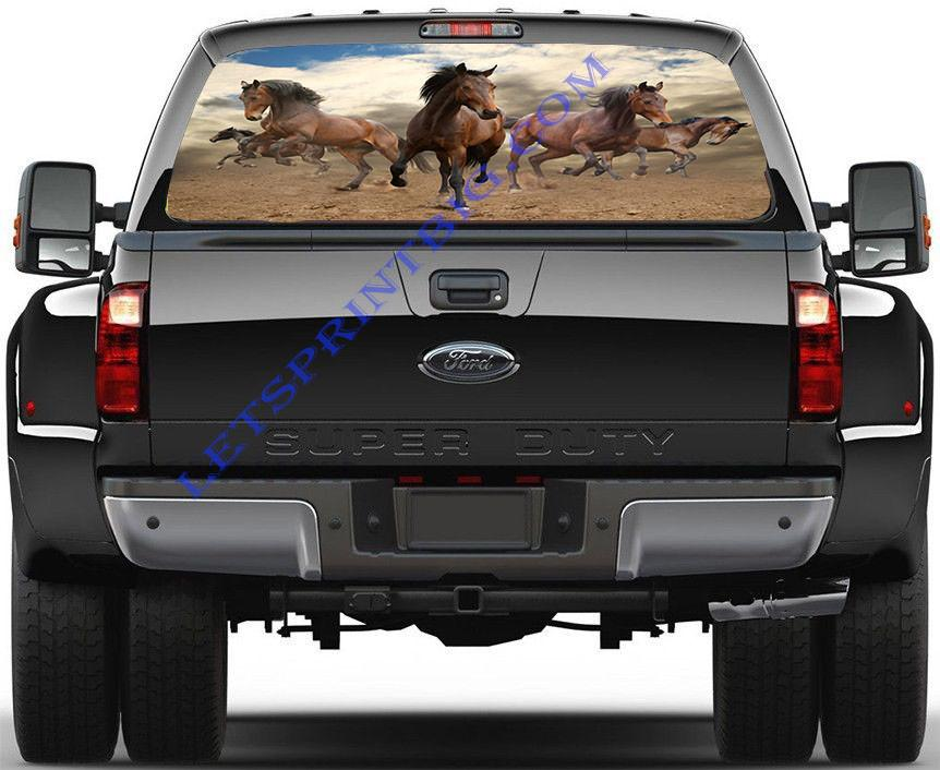 Majestic Bay Horses Running-Rear Window Decal-Graphic - Let's Print Big