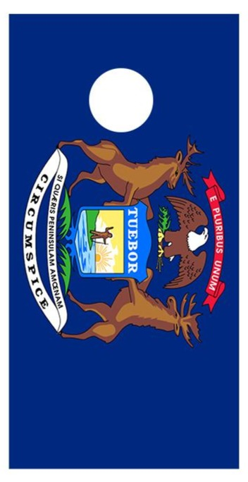 Flag of Michigan Cornhole Board Decal Wraps