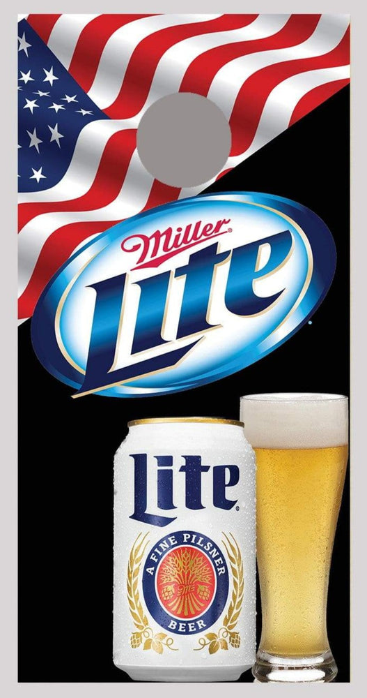 Miller Lite Can and Glass Cornhole Board Decal Wrap