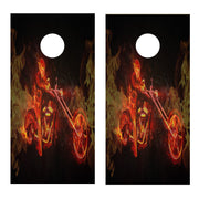 Flames Motorcycle Version 1 Cornhole Board Decal Set -  2 Decals - Let's Print Big