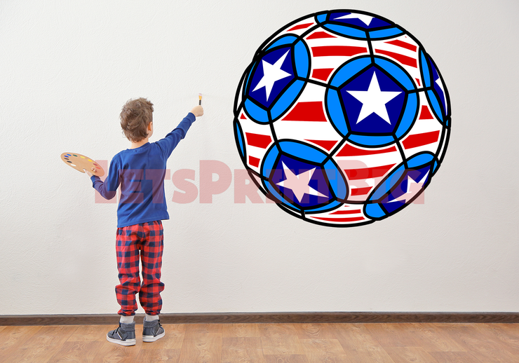 SOCCER BALL WALL DECAL REMOVABLE REPOSITIONABLE FATHEAD STYLE - Let's Print Big