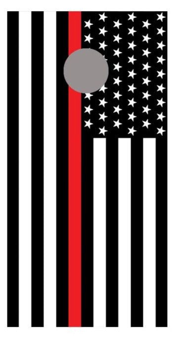 Red Line American Flag Cornhole Board Decal Wraps