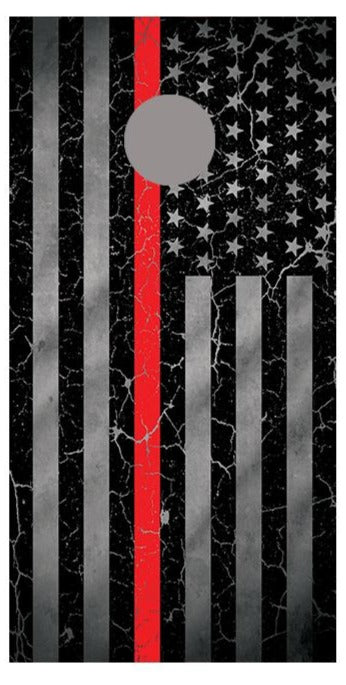 Red Line Crackle American Flag Cornhole Board Decal Wraps