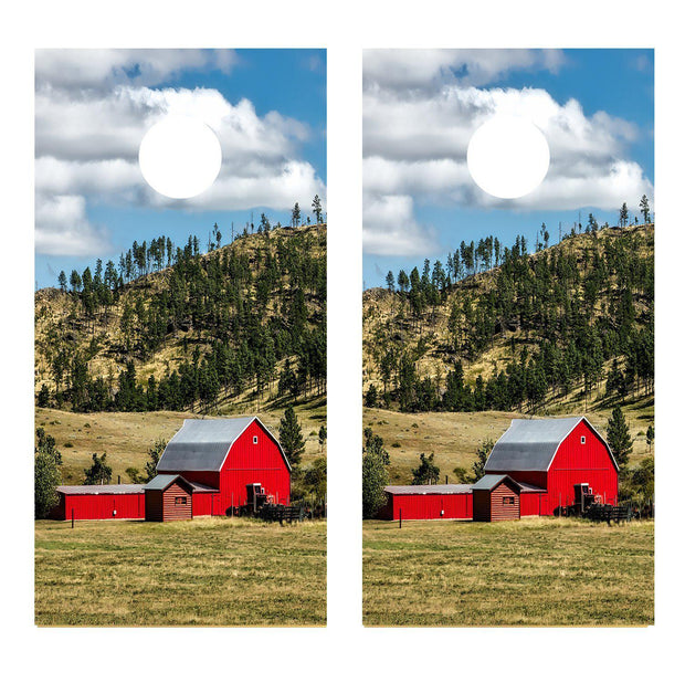 Red Barn Country Field Scene Cornhole Board Decal Set -  2 Decals Bean Bag Toss
