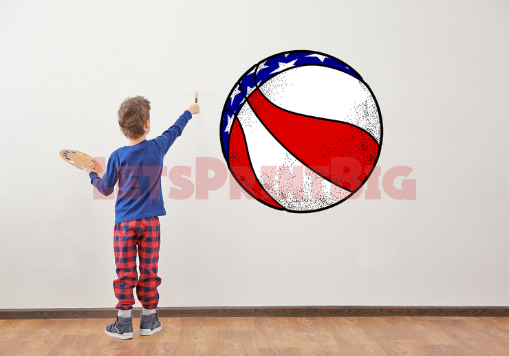 RED WHITE AND BLUE BASKETBALL WALL DECAL REMOVALBE REPOSITIONABLE FATHEAD STYLE - Let's Print Big