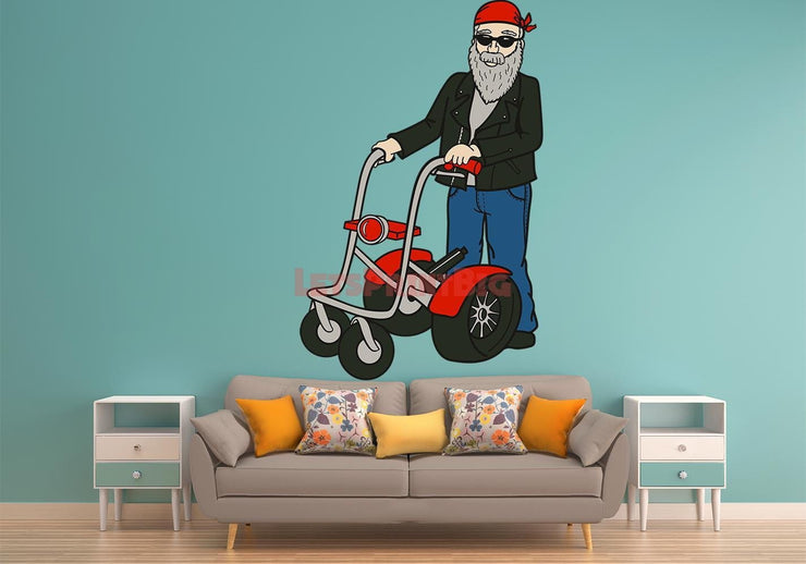 Retirement Biker Walker Wall Decals Removable Repositionable Fathead style - Let's Print Big