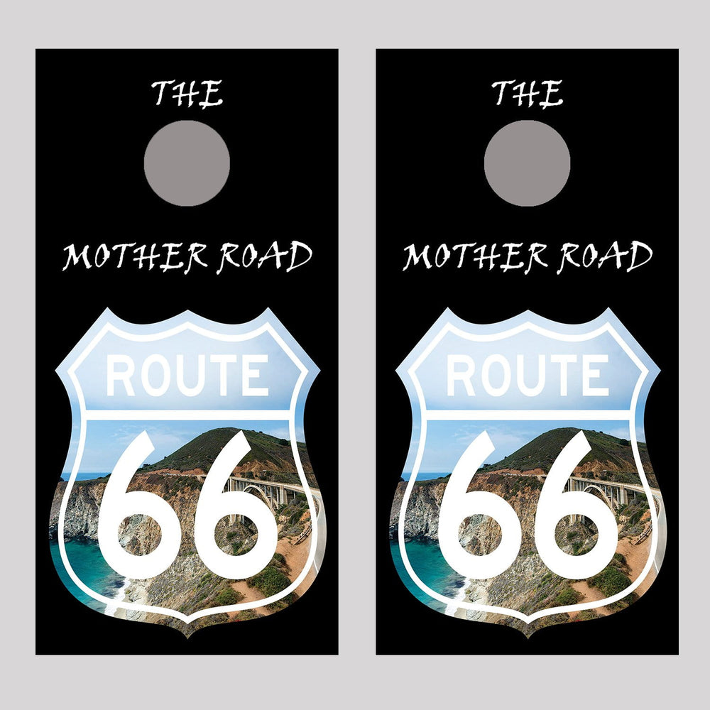 Route 66 Landscape Sign 2 Cornhole Board Decal Wraps
