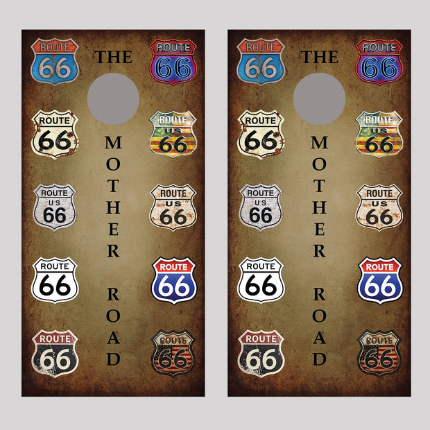 Route 66 Signs Cornhole Board Decal Wraps