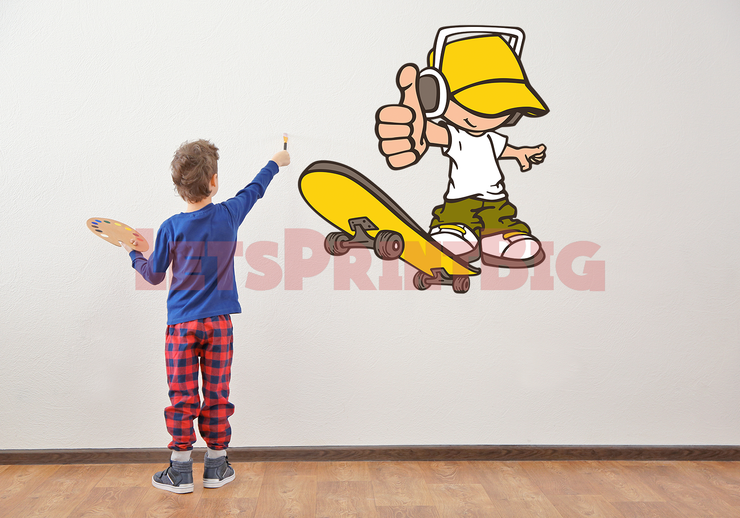 Boy Skater Color Wall Decals Removable Repositionable Fathead style - Let's Print Big