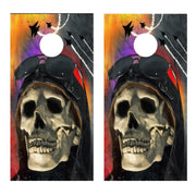 Pilot Skull Jets Cornhole Board Decal Set-2 Decals Bean Bag Toss - Let's Print Big