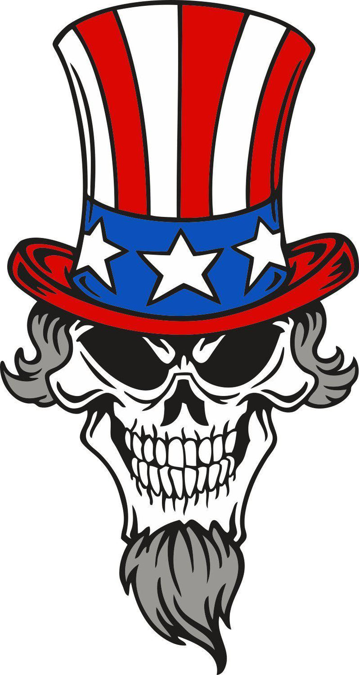 Skull Uncle Sam color decal stickers - Let's Print Big