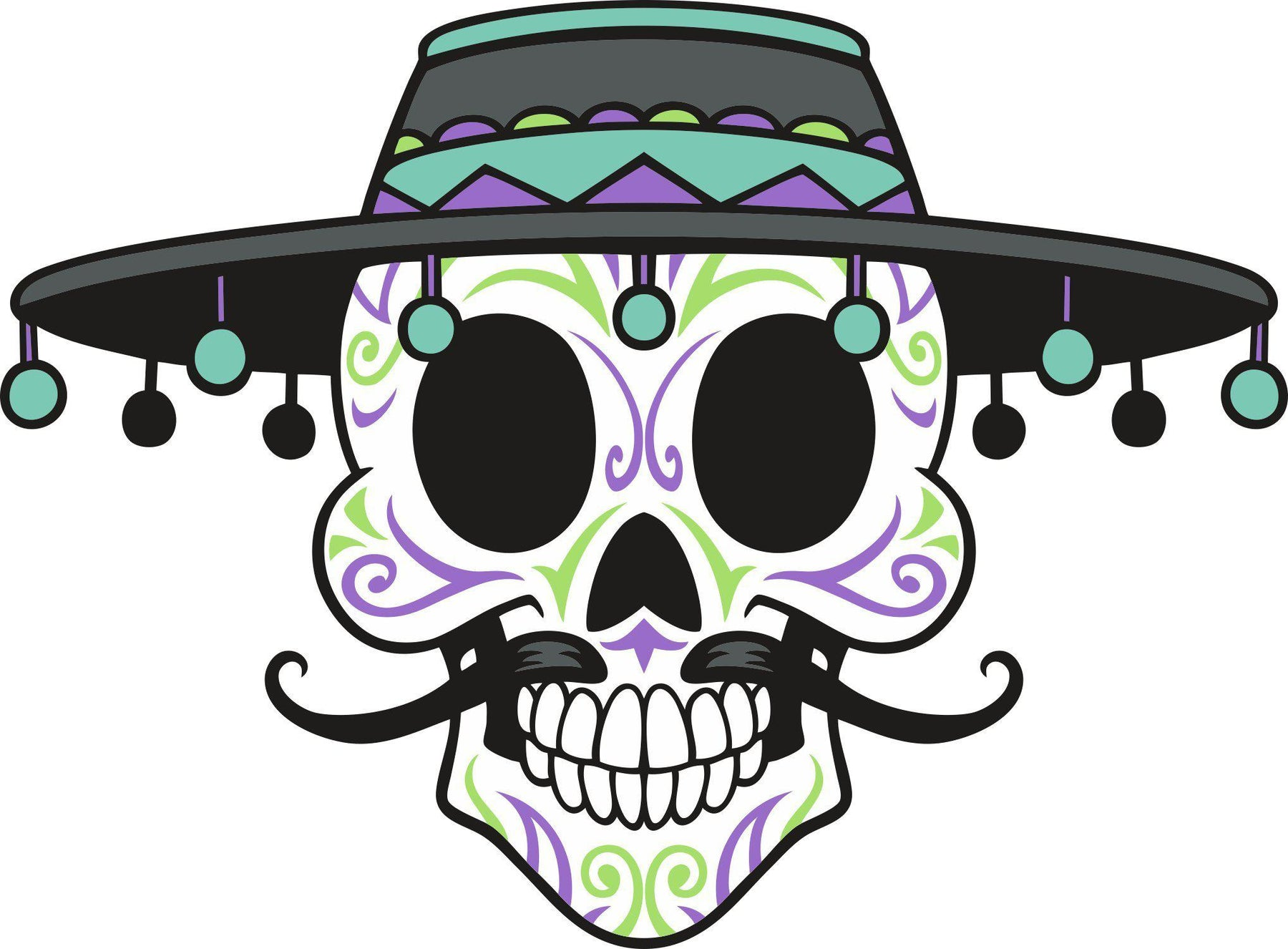 Skull in sombrero color decal sticker lets print big