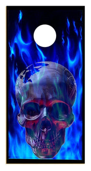 Awesome Skull in Blue Flames Cornhole Board Decal Set - 2 Decals - Let's Print Big