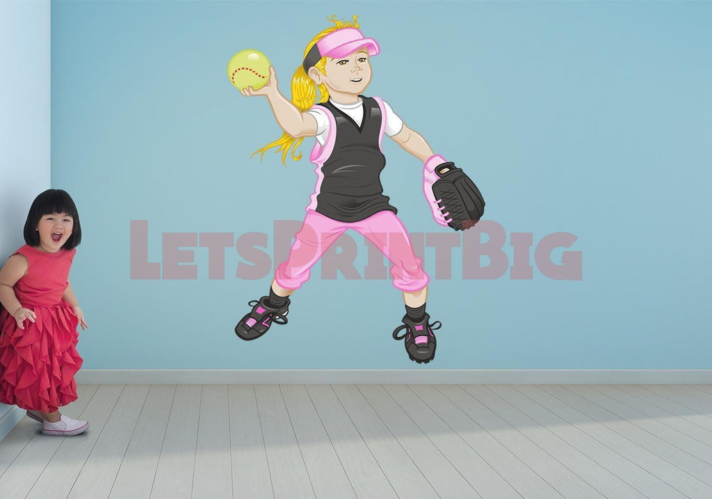 Softball Girl Wall Decals Removable Repositionable Fathead style