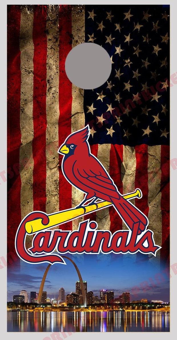 Cardinals Skyline Design Cornhole Board Decal Wraps