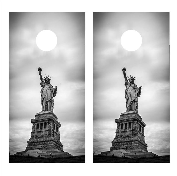 Statue of Liberty Black and White Cornhole Board Decals
