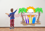 SURF PALM TREE Wall Decals Removable Repositionable - Let's Print Big