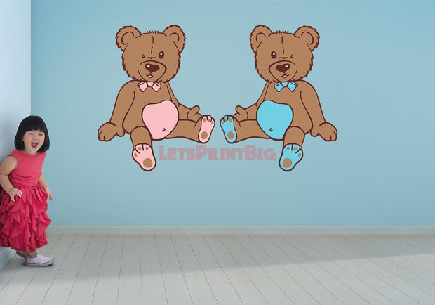 Teddy Bears Nursery Wall Decals Removable Repositionable Fathead style - Let's Print Big