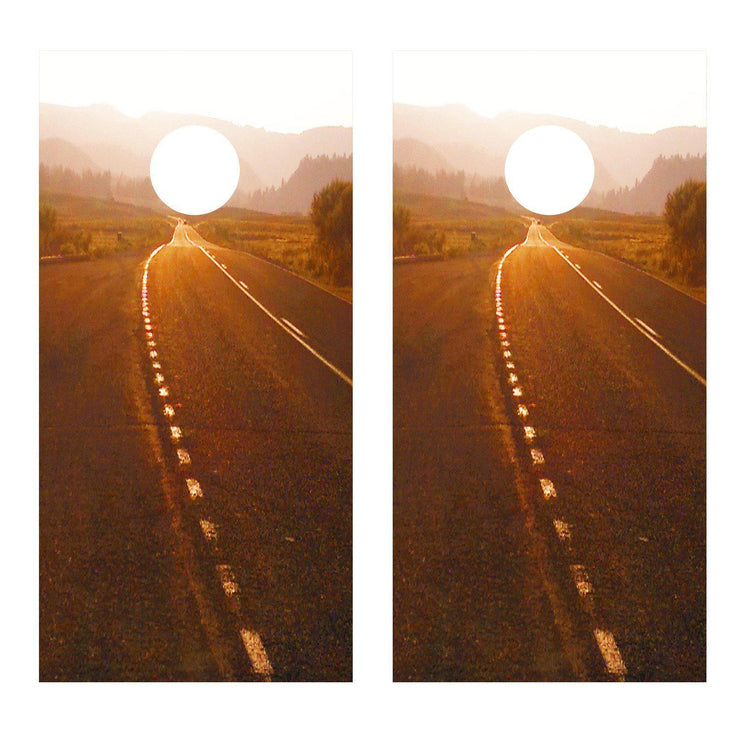 The Highway Sunset Cornhole Board Decal Set -  2 Decals - Let's Print Big