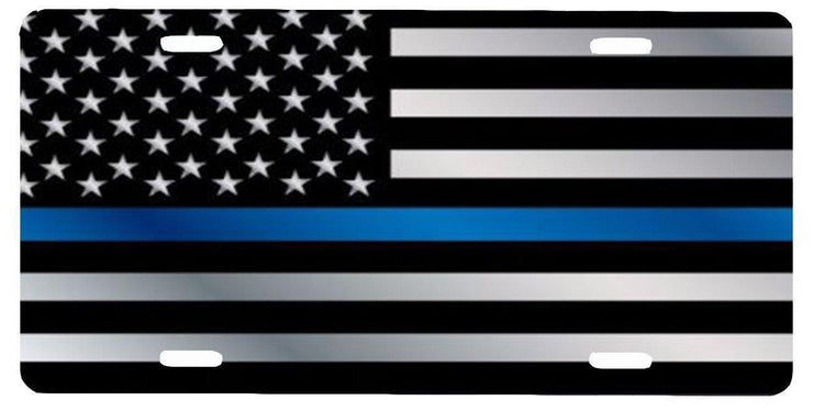 Thin Blue Line American Flag License Plate - Let's Print Big