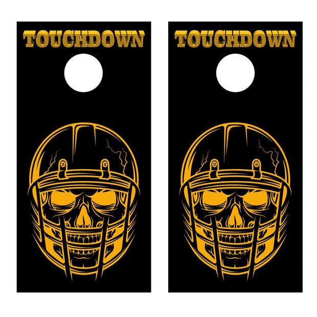 Skull in Football Helmet Touchdown Orange Cornhole Board Decal Set - 2 Decals Be - Let's Print Big
