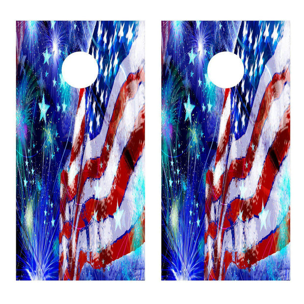 USA American Flag Fireworks Corn hole Decal Wrap