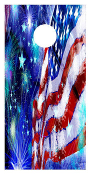 Usa American Flag Fireworks Cornhole Board Decal Set - 2 Decals Bean Bag Toss - Let's Print Big
