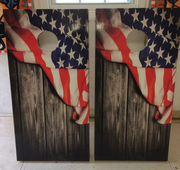 Vintage American Flag Wood Siding Cornhole Board Decal Set - 2 Decals Bean Bag Toss - Let's Print Big
