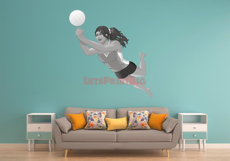 Wall Art Volleyball Player Up Hit Girl Wall Decals Removable Repositionable Fathead style - Let's Print Big