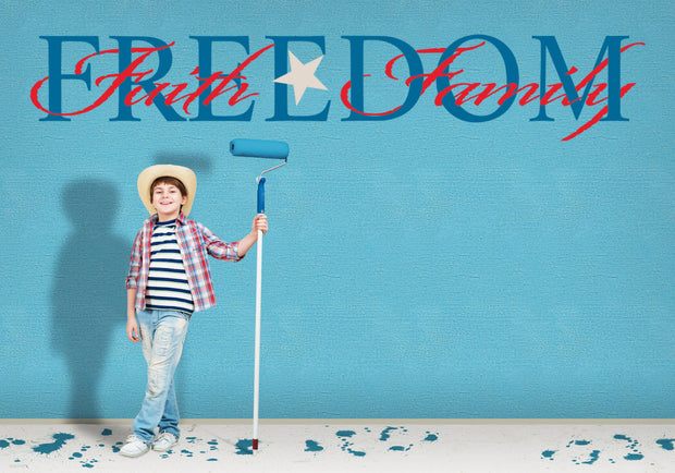 Freedom Faith Family Red White Blue Wall Art Decal Sticker - Let's Print Big