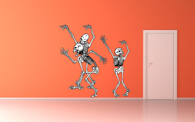 Dancing Skeletons Bones Halloween Party Wall Art Decal Sticker Removable Repositionable - Let's Print Big