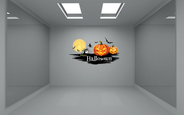 Happy Halloween Pumpkin Witch Bat Wall Art Decal Sticker Removable Repositionable - Let's Print Big