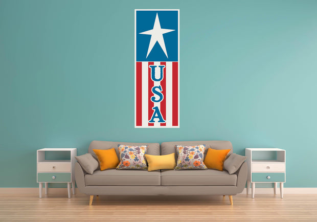 USA Flag Red White Blue Wall Art Decal Sticker - Let's Print Big