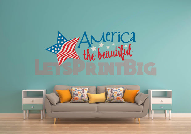 America The Beautiful Wall Decals Removable - Let's Print Big