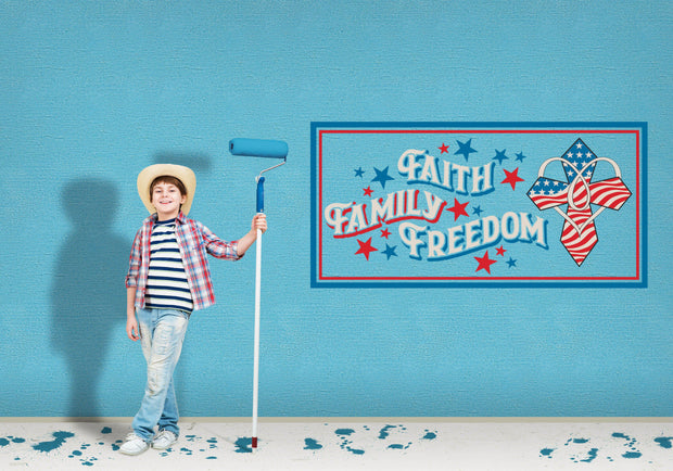 Faith Family Freedom Red White Blue Wall Art Decal Sticker - Let's Print Big