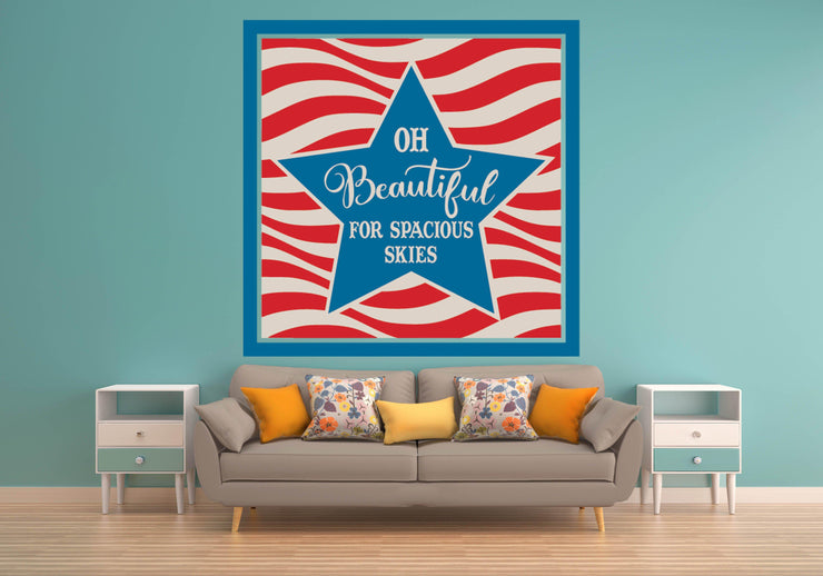 Oh Beautiful For Spacious Skys Flag Red White Blue Wall Art Decal Sticker - Let's Print Big