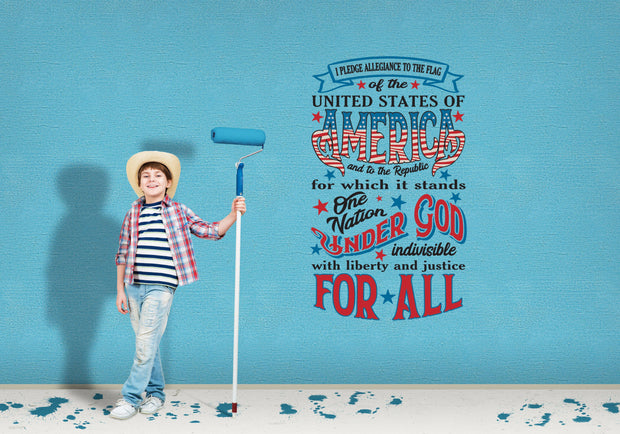 I Pledge Allegiance To the Flag Red White Blue Wall Art Decal Sticker - Let's Print Big
