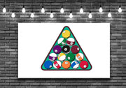 Pool Balls Rack Billiards Wall Art Decal Sticker - Let's Print Big