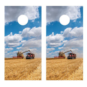 Wheat Harvest Photo Cornhole Board Decal Set - 2 Decals - Let's Print Big